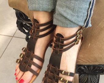 Women's Greek leather sandals,FREE SHIPPING in the USA,Gladiator style,handmade leather sandals,flat,brown,Roman,Ancient style sandal,Ioulia