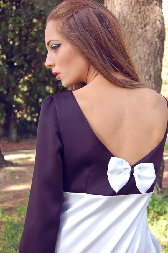 Blanco y negro corto Formal vestido años 60 estilo cambio