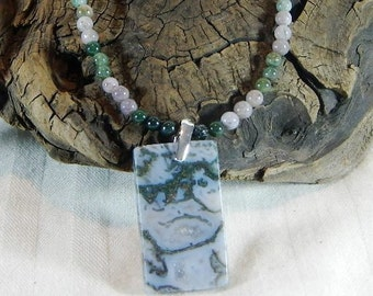 """Green and blue gray moss agate pendant necklace reversible 21"""" long Indian agate semiprecious stone jewelry packaged in a gift bag 11148"""