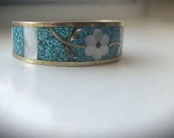 Vintage Antique Silver, Turquoise and Abalone Shell Bracelet