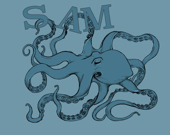 Personalised octopus print kids room present art print A4 or A3