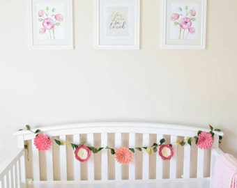 Nursery Floral Garland | Felt Rose & Peony Garland