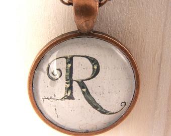 Custom Monogram Pendant Round Glass Bezel Pendant Initial Necklace Monogram Pendant Art Pendant With copper Chain