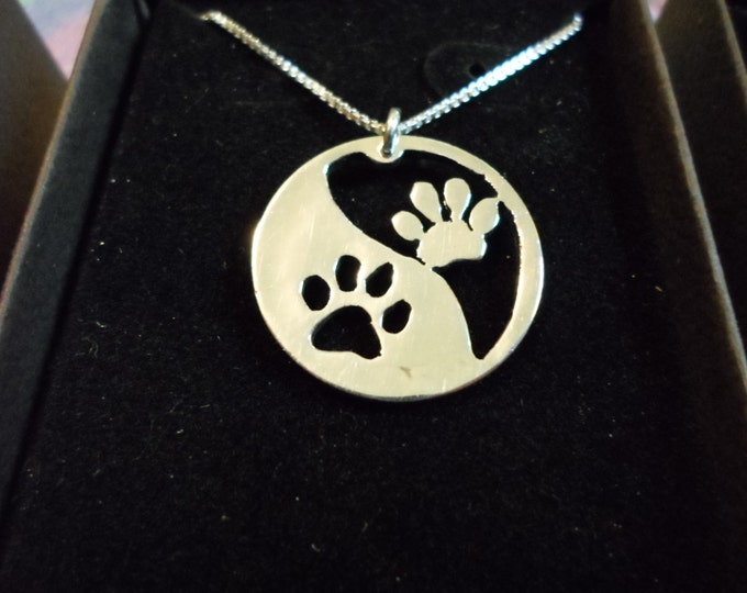 dog paw reflection quarter necklace w/sterling silver chain
