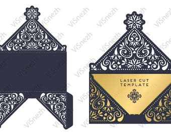 Laser cut Envelope Template. Envelope for Wedding invitation, Gift, Letter, etc. EPS SVG DXF cutting files, Silhouette Cameo, Cricut