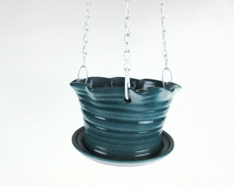Deep Green Hanging planters, indoor ceramic hanging planters with saucer, large plant pots for house plants, flower pot ceramic
