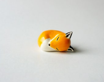 Hand Shaped Ceramic Sleeping Fox Figurine