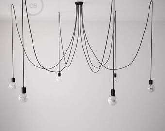 Octopus pendant lamp with multiple arms and flexible black textile cable-4 colors of sockets E27 and ceiling rose with choice-easy assembly