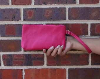 pink leather wristlet, hand made wristlet is made to order