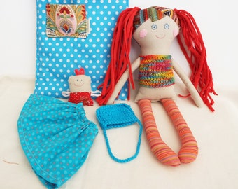 Doll for Play,Mom and Baby, Rag Doll with Bed,Handmade Stuffed Doll, Girl Shower Gift,Doll with Cloth and Bag,Soft Doll,Retro Doll for Girl