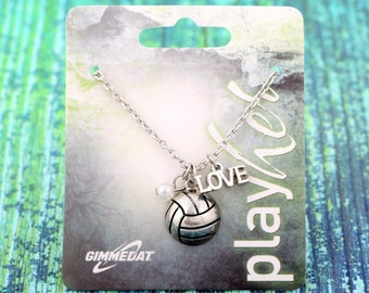 Customizable Silvertoned Volleyball Love Necklace - Personalize with Jersey Number, Heart Charm, or Letter Charm! Great Volleyball Gift!