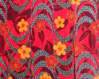 """cotton  fabric ,yellow and red flower on red ,black pattern fabric,W-50"""" ready to ship,prices is for 1 yard."""