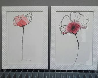Flower watercolor, gift for woman drawing. A4 size