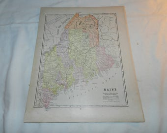 Maine State Map / South America Map from 1892 New Popular Atlas of the World - 1 Book Page Ready to frame - Collectible Ephemera      31-136
