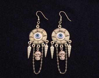 earrings bohemian ethnic chic mystical skulls skulls eye