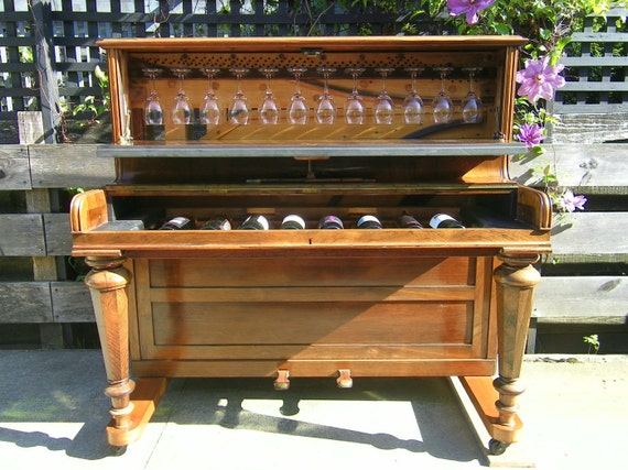 antique piano wine bar. Black Bedroom Furniture Sets. Home Design Ideas