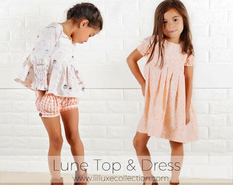 Lune top and dress pdf modern sewing pattern