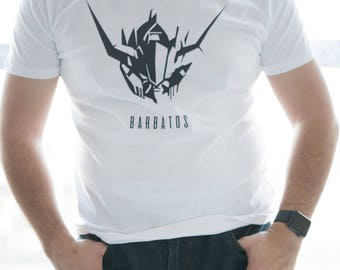 Gundam head IBO BARBATOS tee/sweater/hoodie for Men/Women in Black or White