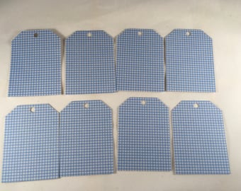 Blue Gingham Tags - set of 8