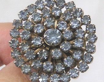 Vintage Jewelry Signed Weiss Round Brooch Blue Rhinestones