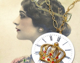 Red Queen, Vintage BUTTON necklace, Antique pocket watch face with crown on gold chain. Button jewellery.