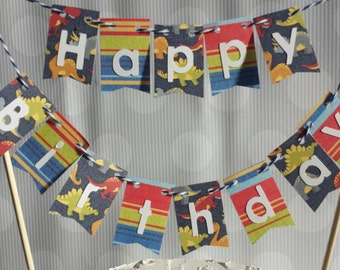 "Cake Bunting, ""Dinosaur"", Happy Birthday, Kids Cake Topper, Paper banner"