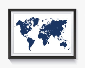 Hamide akta on etsy navy navy blue map print blue world map blue travel map printable world map large world map world map poster home decor gumiabroncs Images