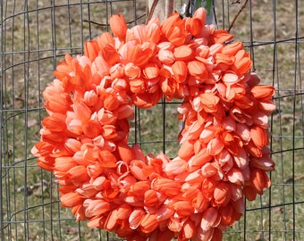 Tulip Spring/ Mother's Day Peach Floral Round Wreath