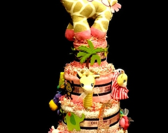 Jungle Jill 2 Diaper Cake - Matches Several Jungle Themes For Girls