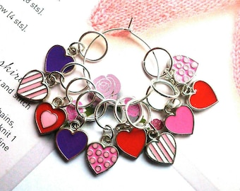 10 Knitting stitch markers My Valentine Heart rings