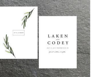 Simple Classic Modern Wedding Save the Dates | Green Botanical | Digital File