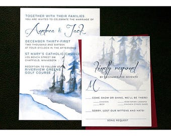 Winter Woods Wedding Invitations - Watercolor Woods - Forest - Wood - Winter Landscape - Wedding Invite with Trees