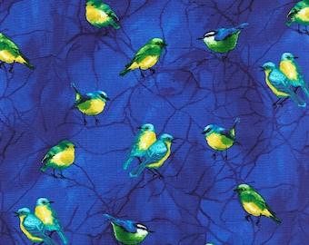 Deep Forest Birds Blue Chong-a Hwang Timeless Treasures Fabric