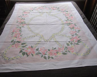Vintage Mid Century 52x66 Simtex Pink and Yellow Floral Cotton Kitchen Tablecloth