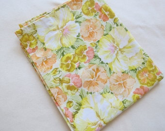"Vintage Pillowcase - Yellow & Orange Pansies - 31"" x 20"""