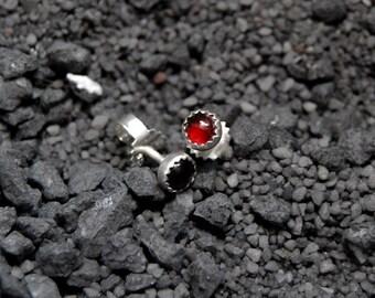 Handmade red Garnet stud earrings, sterling silver, 4mm Garnet cabochon, red studs, serrated bezel, post earrings