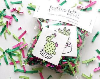 Cactus Confetti / Cactus Gift Tags / Cinco De Mayo / Taco Party / Cactus Party Decor / Cactus Party Favors / Fiesta Confetti / Succulent