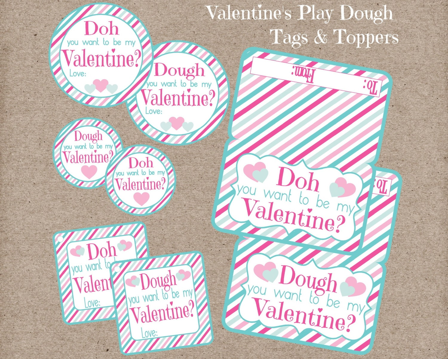 valentine's day play dough tags stickers and bag, Ideas