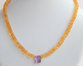 100% Natural Citrine Faceted Round Beaded necklace with Deep Purple Amethyst coushin Beaded Pendant, Calibrated Citrine Beads, AAA Amethyst