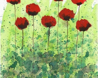 Watercolor Painting: Watercolor Flower Painting -- Art Print --  Christmas in July -- Red Flowers -- 8x10
