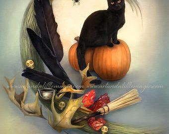 Shadow by Leanne Peters - Halloween Art - Black Cat Art - Fantasy Art