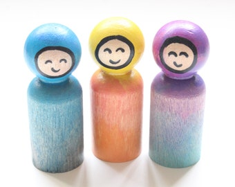 Gnome Peg Doll , Waldorf Inspired , Watercolor Peg Doll , Set of 3 , Open Ended Play , Pretend Play