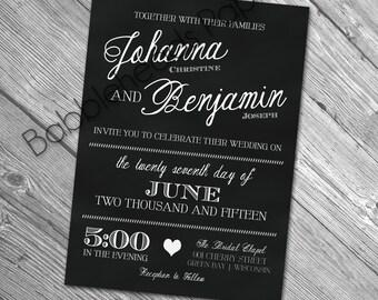 Black and White Elegant Chalkboard Wedding Invitations Digital Package for Amanda Preissler