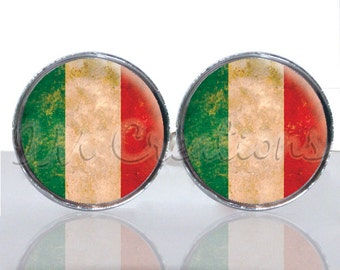 Round Glass Tile Cuff Links - Old Italian Flag CIR127