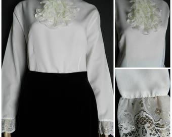 70s romantic semi SHEER  high neck white blouse RUFFLED lace Austin Powers bib lace wrists ballooned sleeves U.K.10 - 12 s m