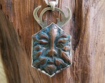 Copper and Silver Green Man Pendant with Chrysoprase Eyes Horned God