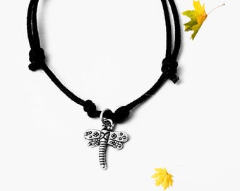 Handmade Dragonfly  Charm Bracelet Or Necklace On A Fully Adjustable Waxed Cord With Many Charm choices Available