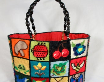 Vintage Purse / Handbag, Hand Bag, Tote / Needlepoint /Festival, Rainbow Colors / Patchwork / Color Block / Boho / 1960s 1970s / Animal