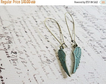 30% OFF SALE Patina blue wing earrings, kidney wire, feather / wing jewelry, Learn To Fly