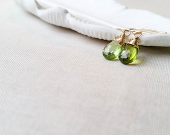 Peridot and Gold Drops - 14k Yellow Gold Fill Wire Wrapped Lime Green Genuine Peridot Briolette Drop Earrings Gift August Birthstone